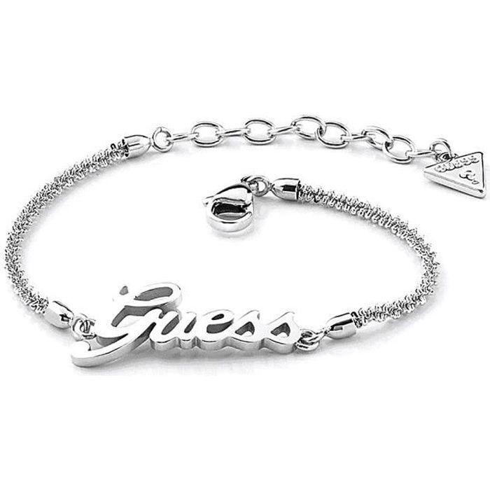 Bracelet Devinez Logo puissance UBB79102-S rhodium logo diamant chaîne en acier inoxydable plaqué mousquetons