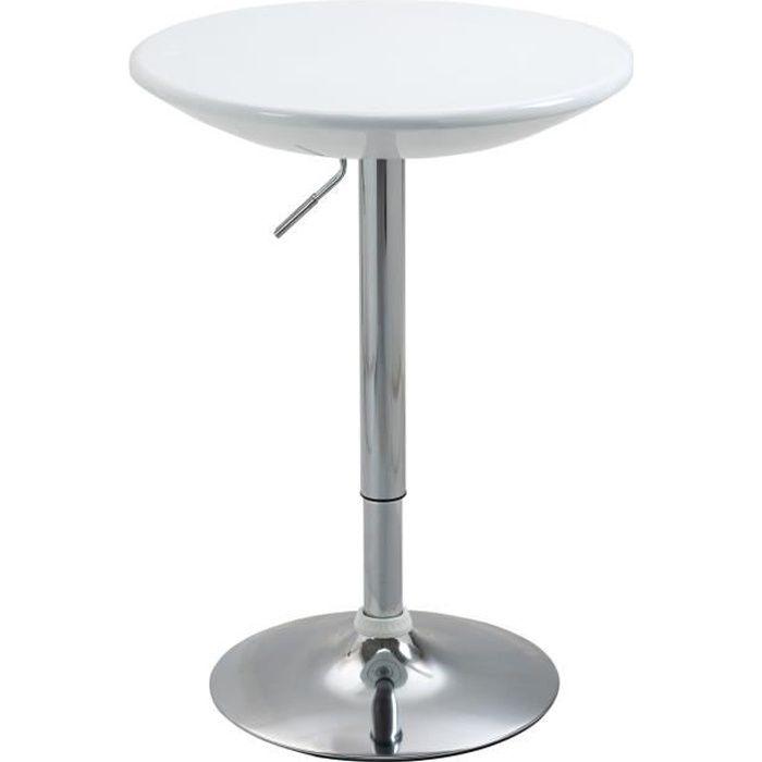 Table de bar ronde style contemporain piètement chromé plateau blanc