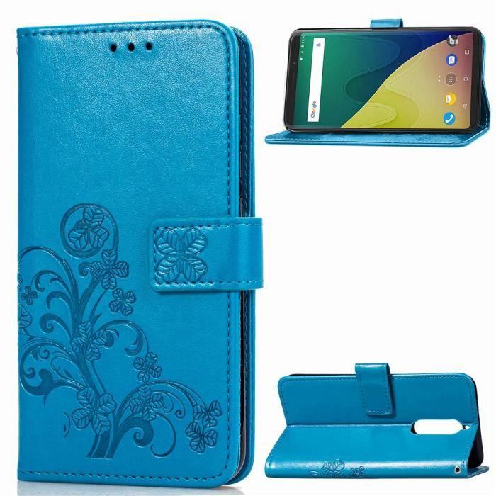 Coque Wiko View XL,Bleu Motif Fleur Cuir Premium Flip Portefeuille Coque Bumper Housse Etui pour Wiko View XL