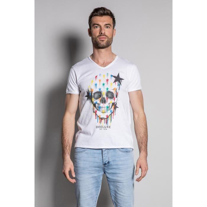 DEELUXE T-shirt à photo tête de mort DRIPPY White