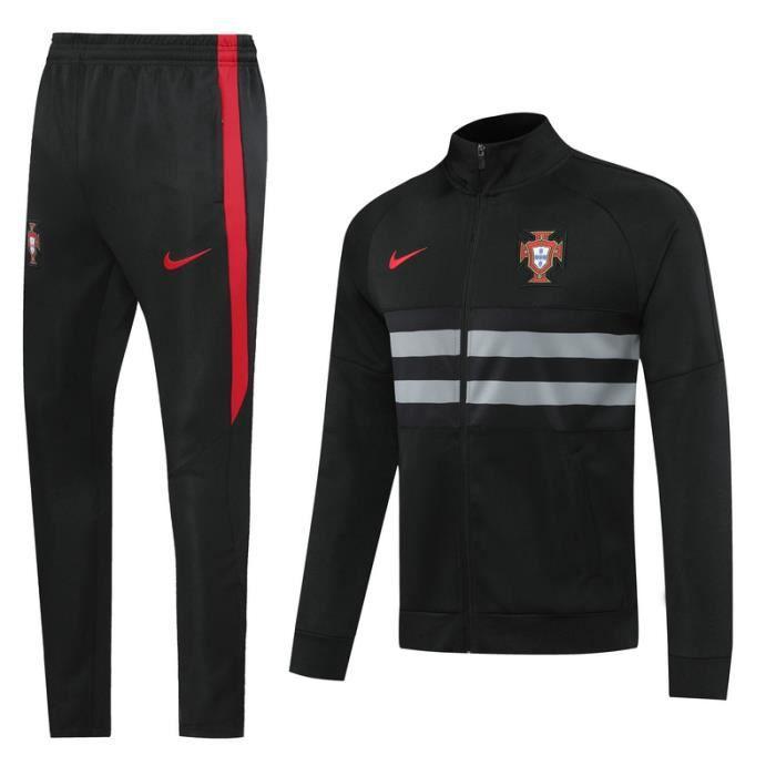 Portugal - Maillot de Foot Football Veste à Manches Longues 2020 2021 Survêtement Training pour Homme - Noir