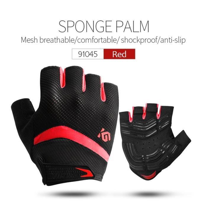 Gants vélo,CoolChange gants de cyclisme demi doigt antichoc respirant GEL gants de vélo vtt hommes femmes Sports - Type 91045 Red