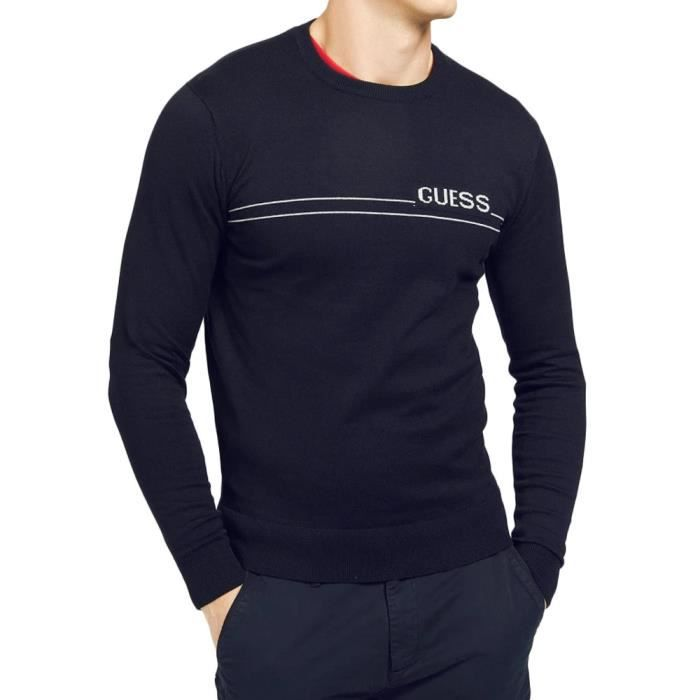 Pull marine homme Guess LS CN Logo 12 GG