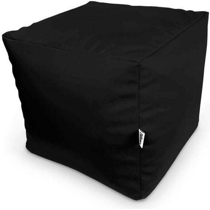 Pouf cube un repose-pied noir