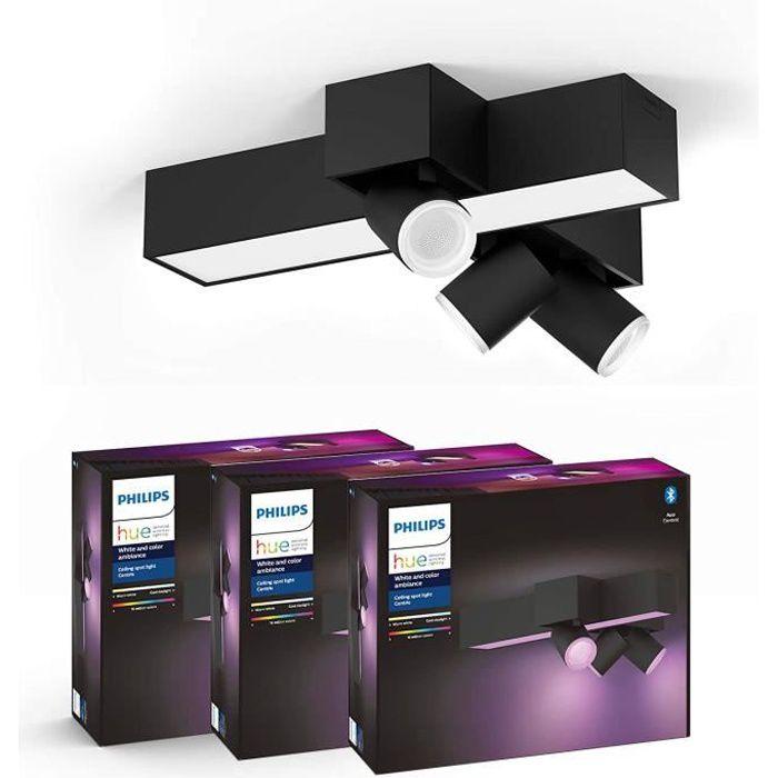 Philips Hue White and Color Ambiance Centris 3 Spots - Noir, compatible Bluetooth