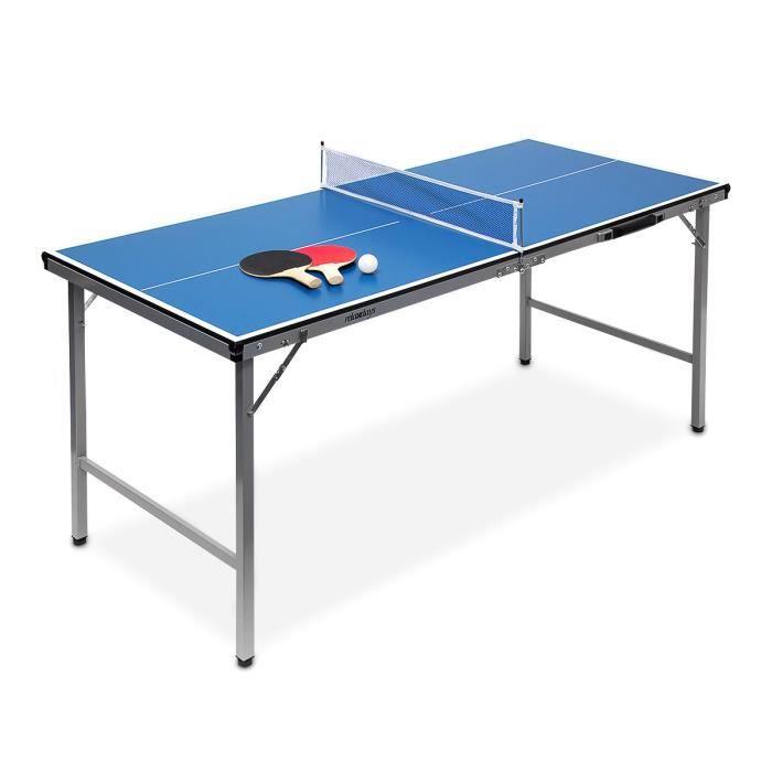 Relaxdays Midi table de ping-pong (150 x 67 x 71 cm) pour le salon de jardin portable intérieur ou extérieur facile à transporter