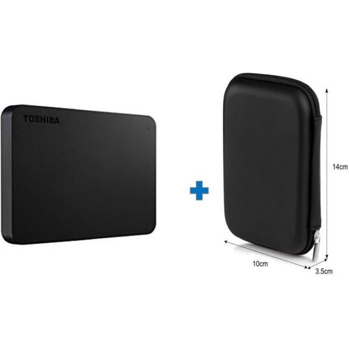 TOSHIBA - Disque dur Externe Canvio basics 2 To USB 3.0 + 1 Housse rigide