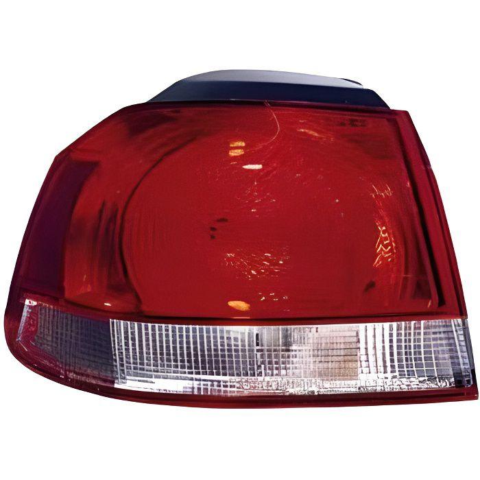 Feu arrière extérieur droit VOLKSWAGEN GOLF VI 2008-2012, rouge/blanc, (type Hella), partie sur aile.