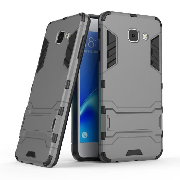 2 in 1 Hybride Antichoc Protection avec Robuste PC Béquille Bumper Housse Coque Pour Samsung Galaxy J7 Max SM-G615F -Gris