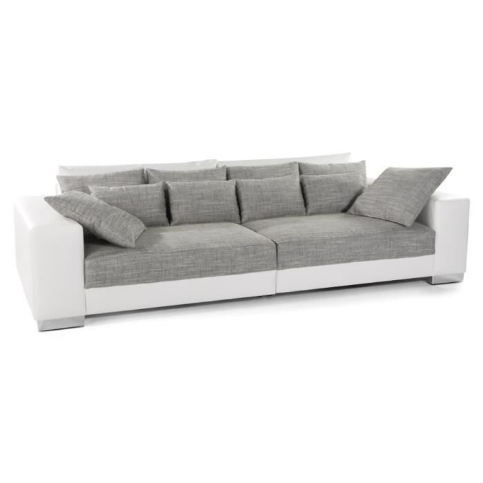 Grand canap droit 39 quartz 39 blanc gris 4 places achat for Canape grande longueur