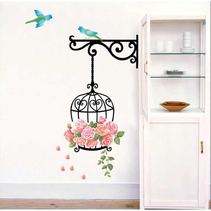 Rose cage oiseaux stickers muraux d coration murale for Decoration murale oiseau 3d