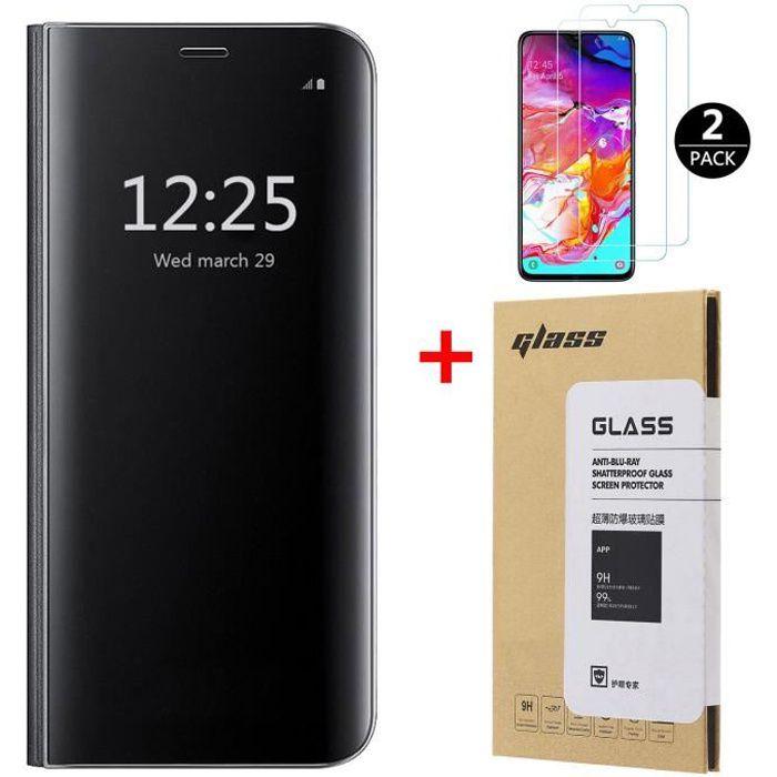 HOUSSE - ÉTUI Coque Galaxy A70 + [2 Pack] Verre trempé, Miroir F