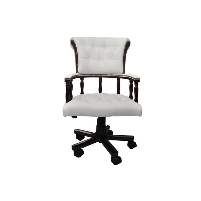 Fauteuil de bureau chesterfield de style capitaine blanc for Chaise capitaine