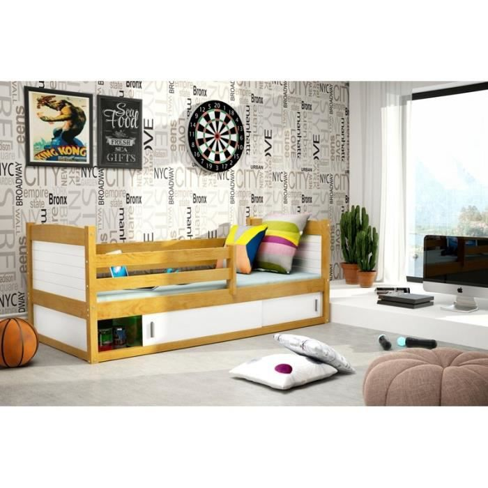 lit enfant avec rangement en bois 160 80 blanc axe achat. Black Bedroom Furniture Sets. Home Design Ideas