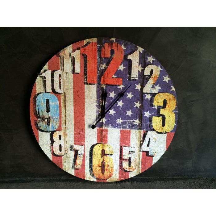Horloge murale drapeau usa 58 cm achat vente horloge for Decoration murale usa