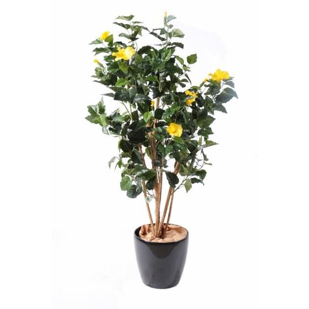 Plante artificielle hibiscus artificiel jaune achat vente fleur artificie - Plantes artificielles discount ...