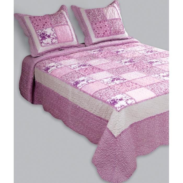 couvre lit boutis 1 place patchwork lilas achat vente. Black Bedroom Furniture Sets. Home Design Ideas