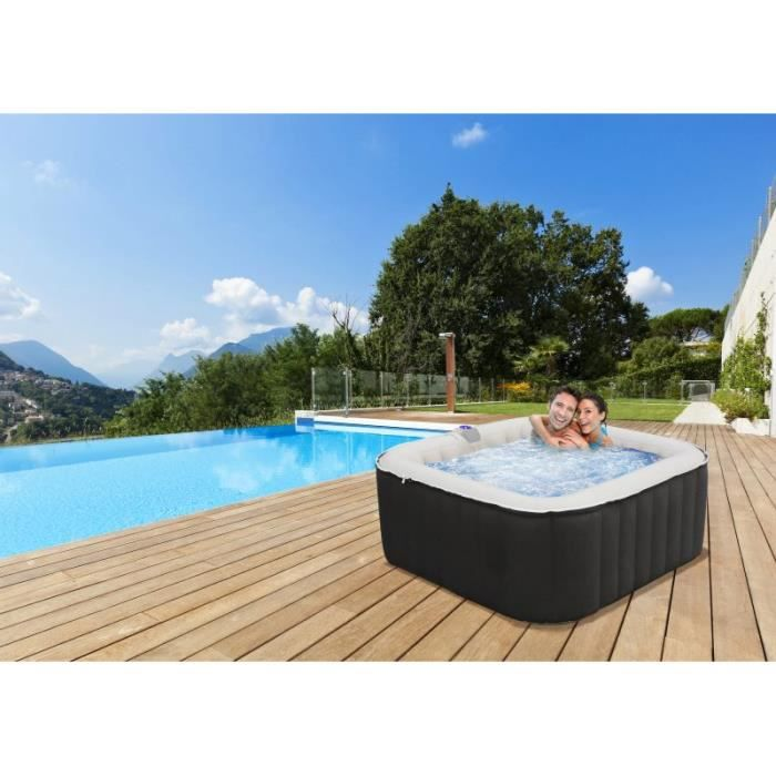 Spa gonflable carr noir 3 4 places achat vente spa complet kit spa - Piscine gonflable carre ...