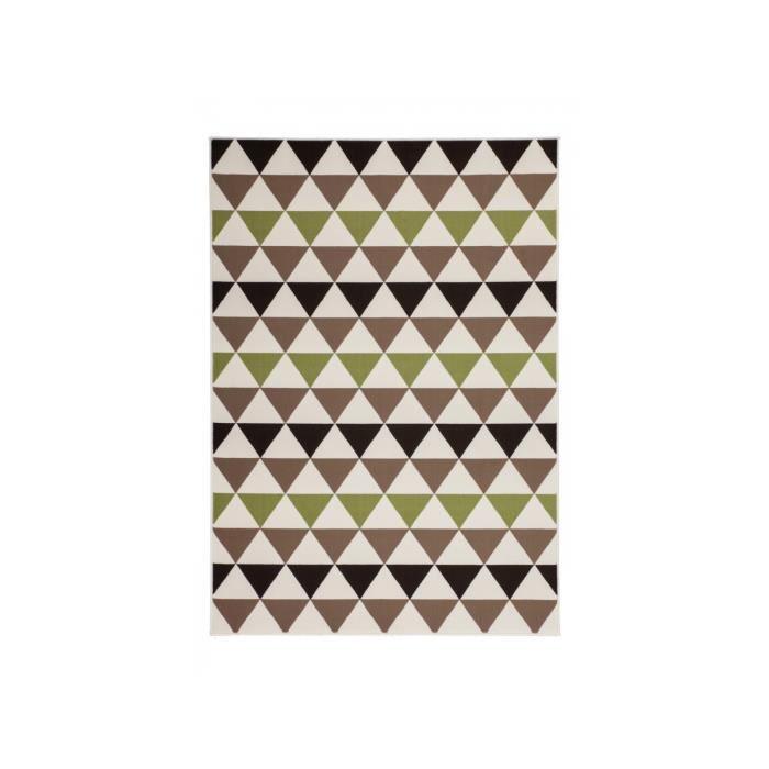 Tapis beige marron noir et vert design 120 x 170cm en 100 ...