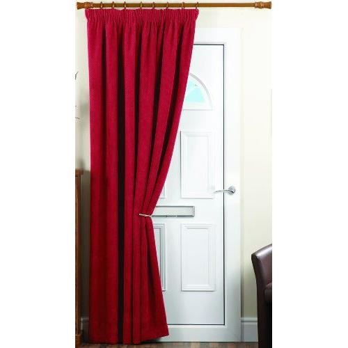 dreams 39 n 39 drapes rideau de porte isolant 1 panneau chenille rouge 168 x 213 cm achat vente. Black Bedroom Furniture Sets. Home Design Ideas