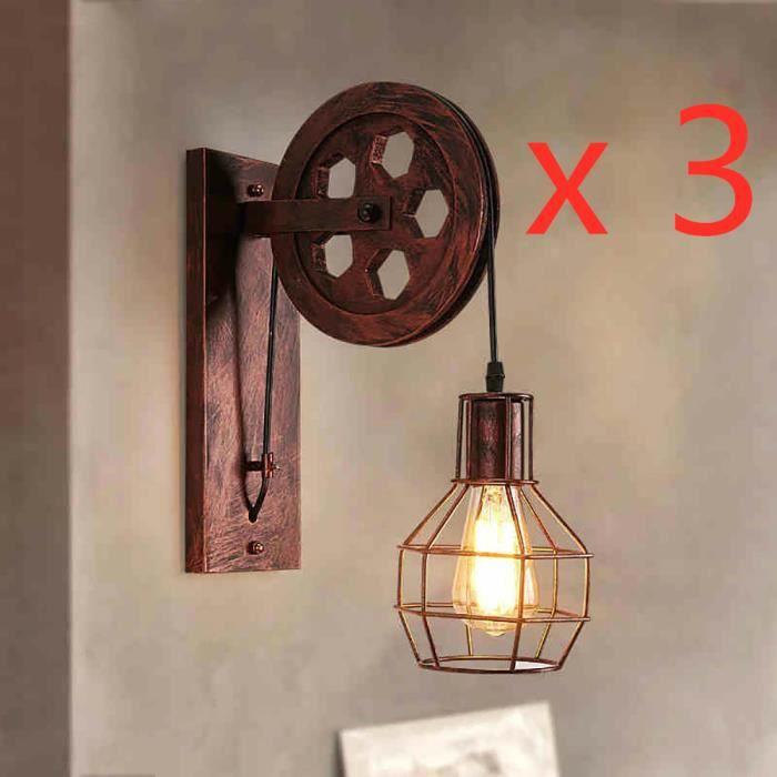Vintage lampe murale lampe de chevet corde de chanvre base en bois r/étro applique murale luminaire murales d/écoratives pour Loft Restaurant Corridor Salon Corridor
