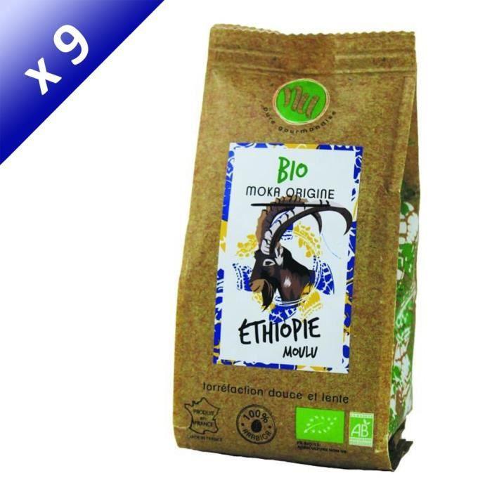 CAFÉ NU Café Bio Moka Sachet - Lot de 9x 125 g