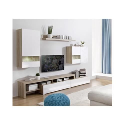 Ensemble mural boran blanc achat vente meuble tv ensemble mural boran - Ensemble mural tv design ...