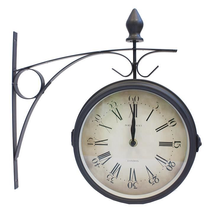horloge de gare r tro double face achat vente horloge m tal cdiscount. Black Bedroom Furniture Sets. Home Design Ideas