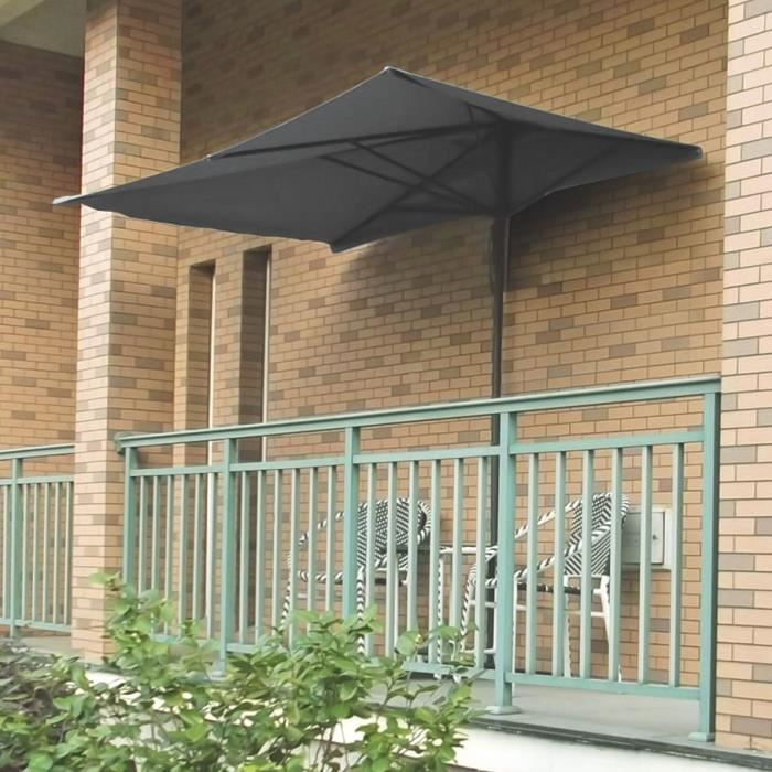 parasol de balcon avec son pied en t longueur 250cm balcony anthracite achat vente parasol. Black Bedroom Furniture Sets. Home Design Ideas