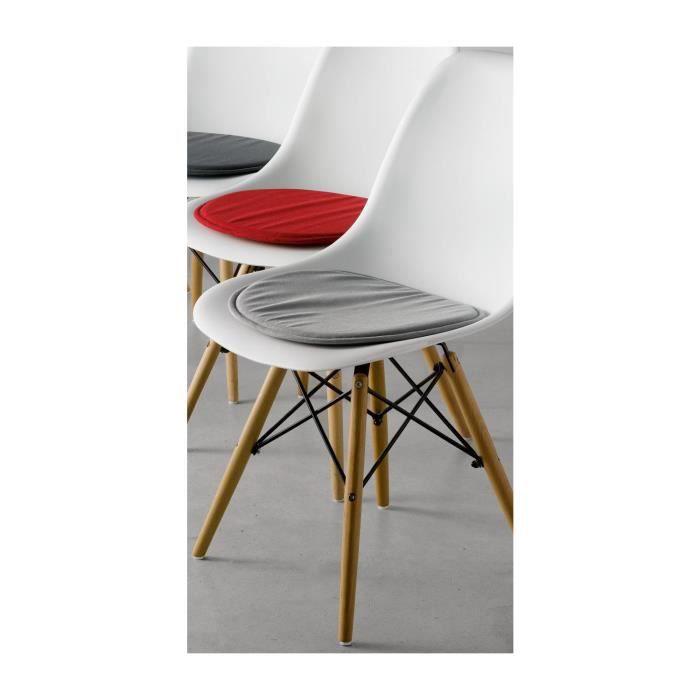 Today Gris 40x40x5cm Lot de 4 Galettes de chaise /à assise matelass/ée unie