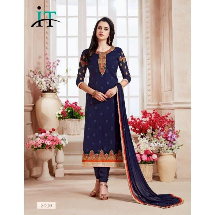 salwar kameez varsha bleu marine tenue indienne bollywood. Black Bedroom Furniture Sets. Home Design Ideas