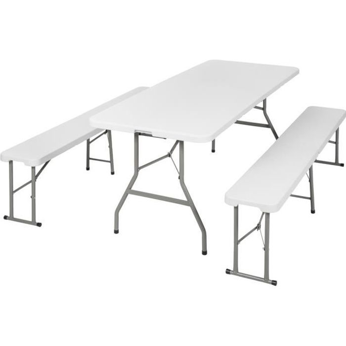 table et banc pliant table de camping tectake prix pas cher cdiscount. Black Bedroom Furniture Sets. Home Design Ideas