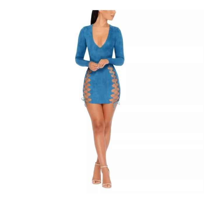 Femmes Mini Suede manches longues col en V Side Cross Party Band Dress 2GCCBX Taille-38