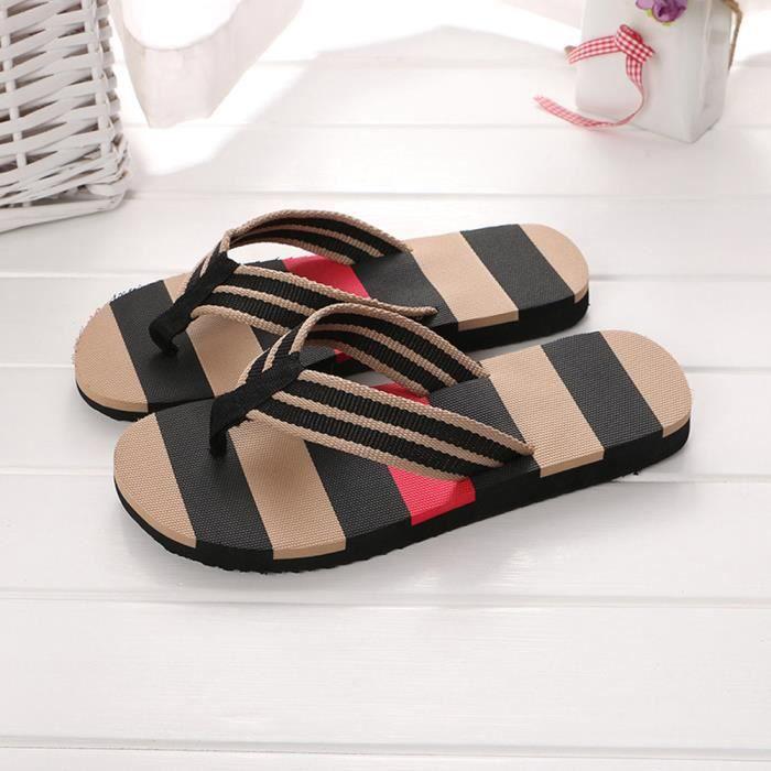 Hommes chaussures d'été couleurs mélangées sandales pantoufles mâles intérieures ou extérieures tongs qe1898