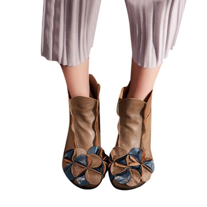 Chaussures Femmes Fleurs Cousu main style ethnique Martin Bottes en cuir décontractée qinhigs2018115341