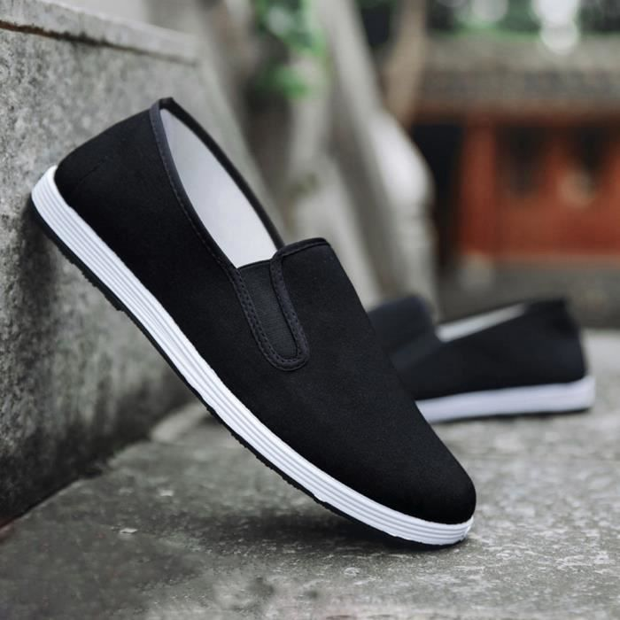 Hommes Garçons Casual Sneakers Sport Courir Respirant Toile solide Slip-On Chaussures _yini5748