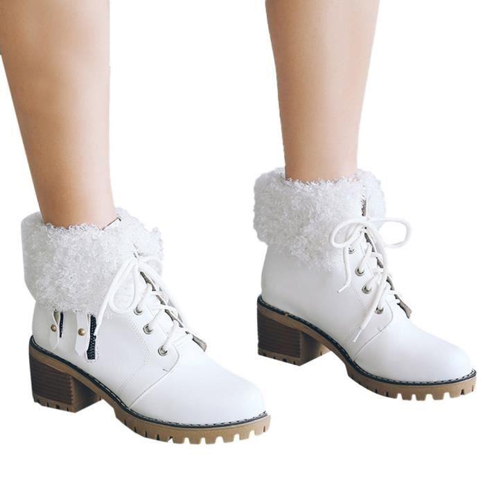 Casual Retro lacées Chaussures femme épais talon Maintien au chaud à tête ronde Martin Bottes @down3544