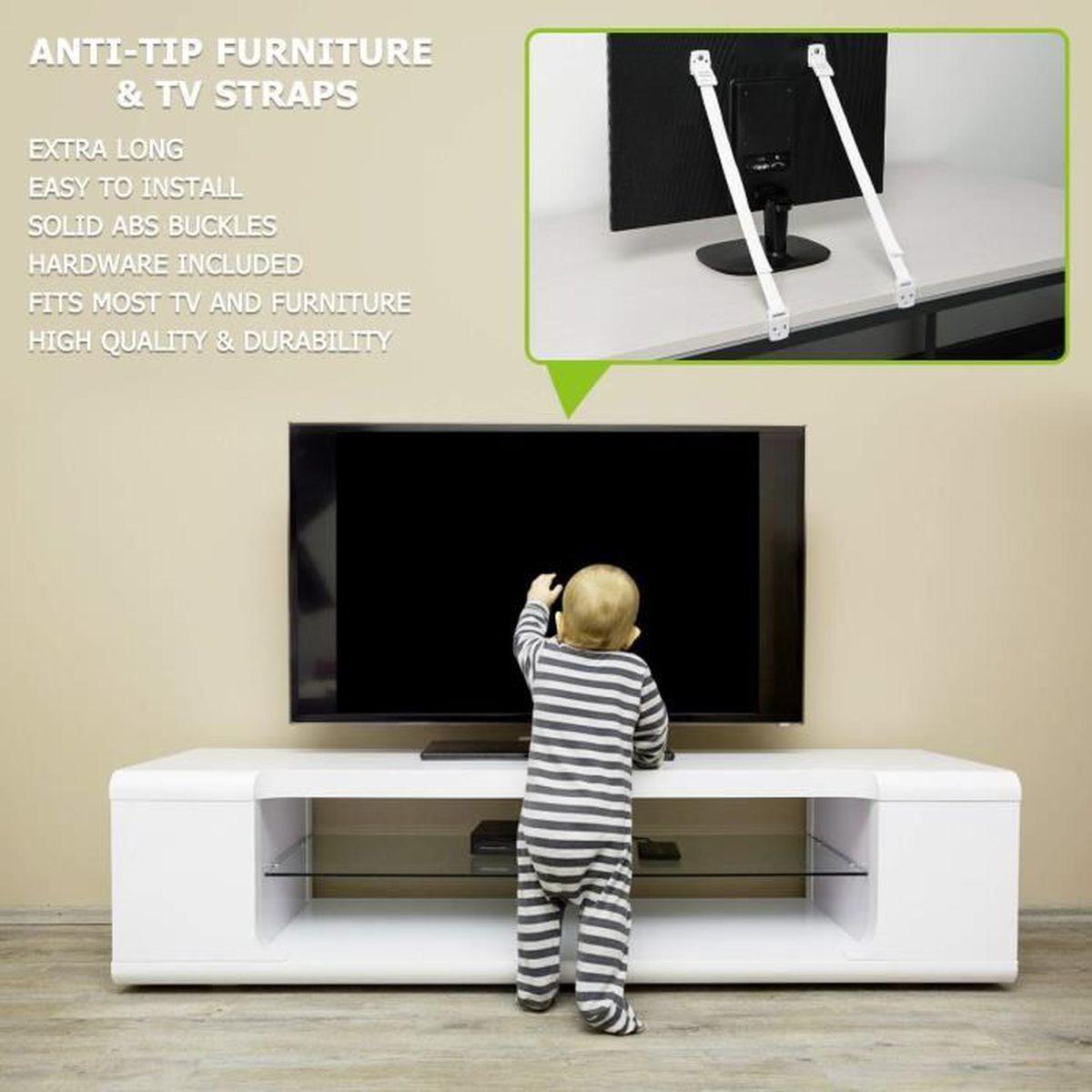 prot/égez votre b/éb/é et vos animaux de compagnie de d/émonter les meubles Blanc fixez les meubles au mur Gizhome Lot de 8 sangles dancrage en nylon anti-basculement pour meubles