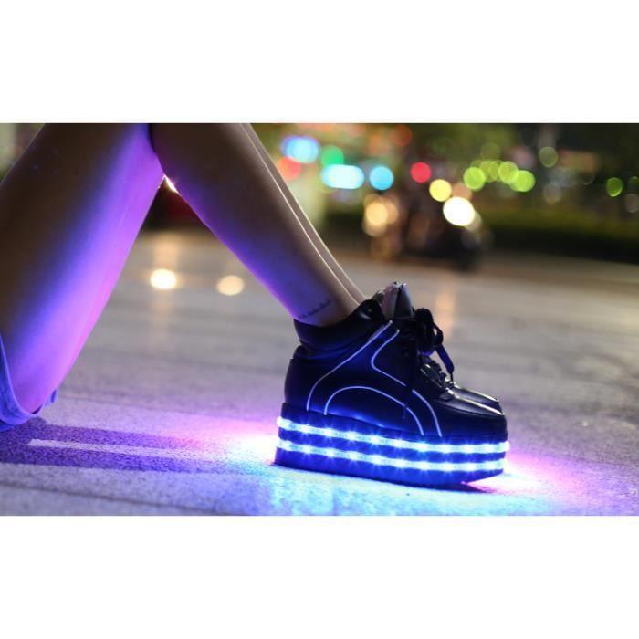 Haut-dessus lacets Femme 7 LED de couleur des c...