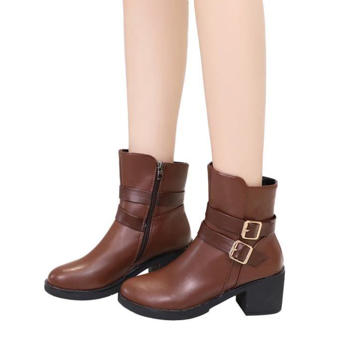 Bottes compensées pour femmes avec bride en cuir et sangle Bottes Martin Bottes Chaussures Bottines@marron  LJD8911894
