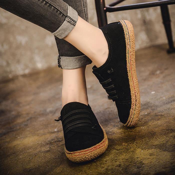 Femmes femmes douces Bottines plates simple Chaussures Femme Bottes en suède en cuir à lacets @yini3025