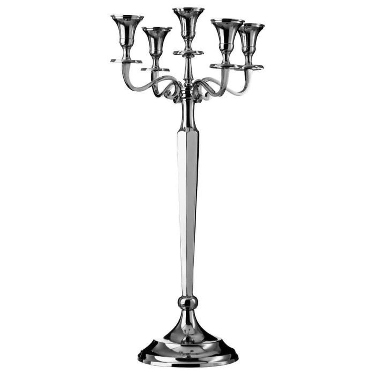 grand bougeoir chandelier 5 branches en aluminium hauteur 88 cm achat vente bougeoir. Black Bedroom Furniture Sets. Home Design Ideas