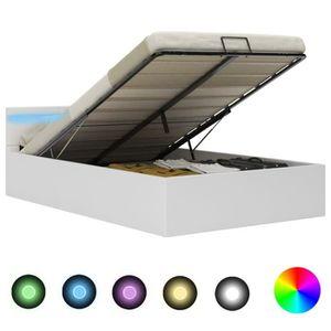 STRUCTURE DE LIT Cadre de lit à rangement avec LED Blanc Similicuir