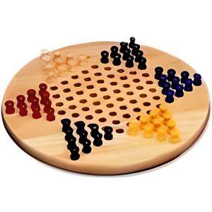 JEU SOCIÉTÉ - PLATEAU Dames Chinoises, jeu de société en bois
