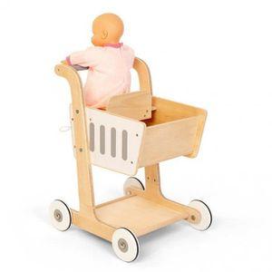 MARCHANDE Chariot en bois, avec porte-bébé (poupées)  mesure