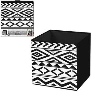BOITE DE RANGEMENT Cube de rangement 'Boho' noir blanc - 31x31 cm [Q4