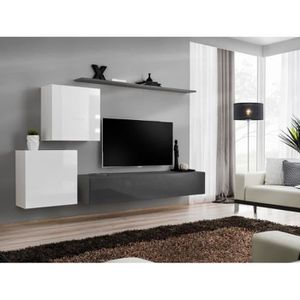 MEUBLE TV Meuble TV mural SWITCH V design, coloris gris et b