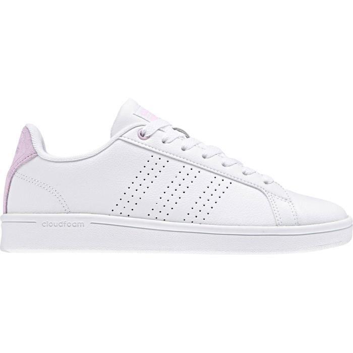 ADIDAS Baskets Advantage - Femme - Blanc et Rose