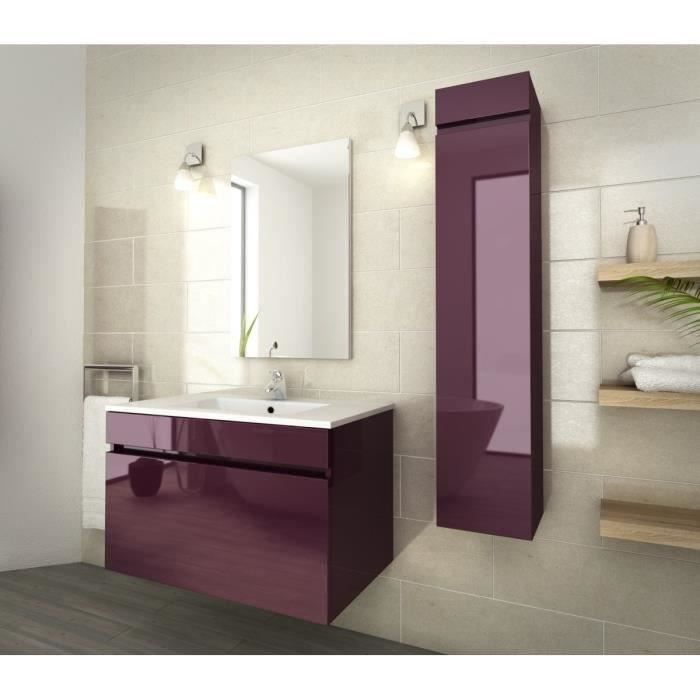 luna salle de bain compl te simple vasque 80 cm aubergine vernis haute brillance achat. Black Bedroom Furniture Sets. Home Design Ideas