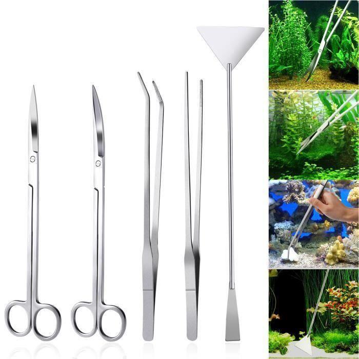 Kit de Aquascaping d'aquarium en acier inoxydable 5 en 1 Aquarium Ensemble d'outils plantes Pinces Spatule à ciseaux